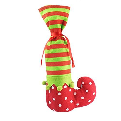 Demarkt–Navidad Botellas de Vino Bolsa de Calcetines de Navidad Navidad Bolsa de Regalo de vellón sustancias 20*