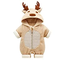 Tessuto in cotone 95%, morbido, confortevole e caldo. I bottoni della tutina per bambino sono progettati nel cavallo per indossare facilmente e cambiare i pannolini. La simpatica forma di renna è piena di elementi natalizi. Ottimo per casual, Natale,...