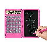 Yijinstyle Calculadora Básica de Pantalla Grande de 12 Dígitos Recargable USB Plegable con Tableta de Escritura LCD Reutilizable (Rosa)