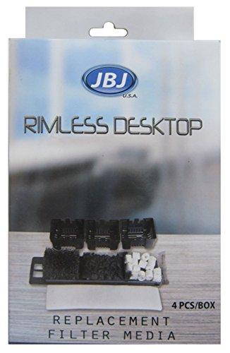 JBJ Rimless Desktop Filter Media (4-Pack), Black (RL-FM)