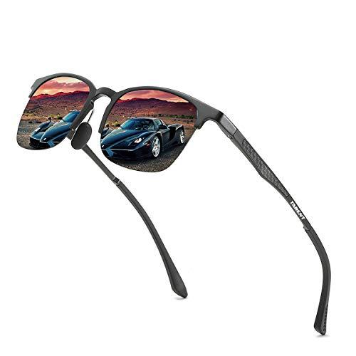 Tarent Polarisierte Sonnenbrille Herren Damen mit UV400 Schutz, Sportbrille Fahrradbrille mit Hochwertigem Al+Mg Metallrahmen