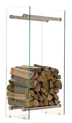 CLP Kaminholzregal/Kaminholzständer Dacio aus Klarglas I stabile Konstruktion I Holzlager I modernes Glasregal mit Bodenschonern, Farbe:Edelstahl, Größe:35x40x100 cm