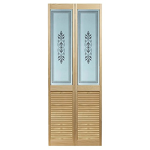 LTL Home Products 875828LB Tapestry Louvered Bottom Bifold Interior Wood Door, 32' x 80', Unfinished Pine