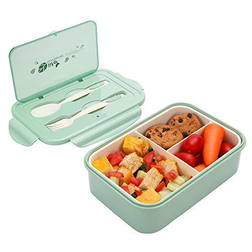 1000 ml Brotdose für Kinder Und Erwachsene, Wiederverwendbarer Bento Box Lunchbox mit 3 Fächern und Besteck, Vesperdose Mikrowelle Heizung (Grün)