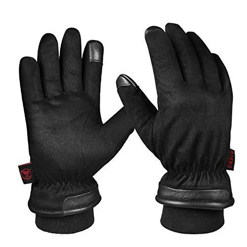 lem Gants Anti-coupures Gants en Peau de Daim imperméables et froids Gants d'hiver à écran Tactile pour Ski