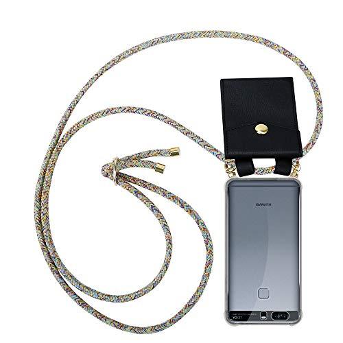 Cadorabo Custodia Collana per Huawei P9 PLUS in RAINBOW Case a Tracolla – Cover Laccio per Il Collo in Silicone Trasparente con Anelli Ori, Cordino e Borsello Rimovibile