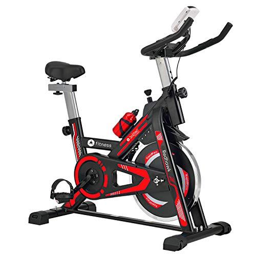 Bicicleta spinning con volante de inercia de 13 kg, microcomputador con función scan, manillar y sillín ajustables