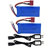 Blomiky 2 Pack 7.4V 1500mAh 40C Lipo 11.1Wh Rechargeable Battery T Plug and USB Charger Cable for 1/12 Scale Hosim 9155 9156 and WLtoys A979-B 12428 4WD RC Trucks 12428 Battery 2 Pack