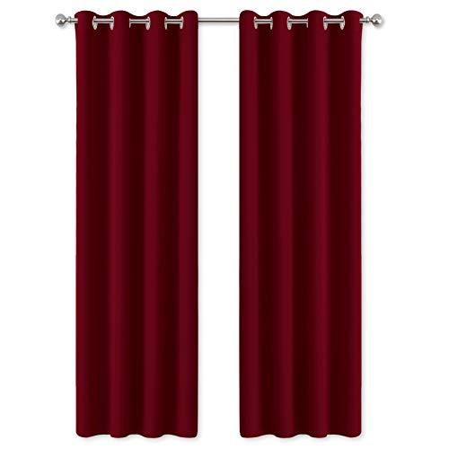 PONY DANCE Gardinen Blickdicht Thermo - Vorhänge Blickdicht Wohnzimmer Dekoschals Gardine Verdunkelung Ösenvorhang Wärmeisolierend, 1 Paar H 200 x B 140 cm, Rot