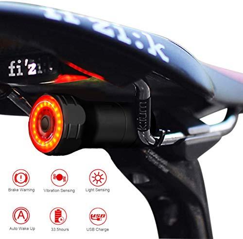 Luz Trasera de Bicicleta Inteligente, Recargable USB Super Brillante Rojo Luz LED Bici con 6 Modos Fijos e Intermitentes, Detección de frenado automático, IPX 6 Impermeable Ciclismo Bicicleta Linterna