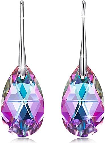 HUIQ Regalos para Sus Regalos para Mujeres Pendientes para Mujeres 925 Pendientes de Plata esterlina con Cristales Joyas Personalizadas para el cumpleaños Aniversario de Boda Esposa Novia Madre Hija