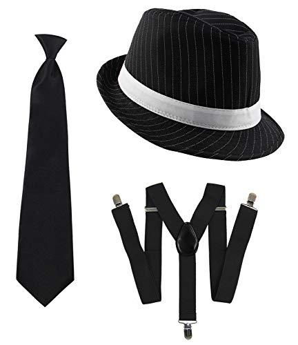 Foxxeo 20er Jahre Gangster Kostüm Set für Herren I Hut - Hosenträger - Krawatte I Schwarz I 1920er Mafia Accessoire Outfit