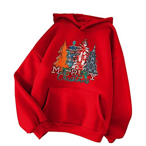 BIKETAFUWY Sudadera de Navidad para mujer, sudadera bsica, sudadera con capucha para mujer, con estampado de Navidad, para fiestas de Navidad, ropa deportiva, A35., M