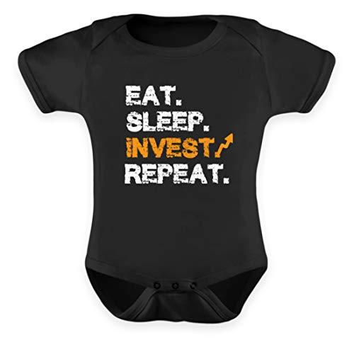 Generisch EAT Sleep Invest Repeat AKTIONÄR AKTIEN BÖRSEN Investor Entrepreneur DIVIDENDEN WERTPAPIER - Baby Body -6-12 Monate-Schwarz