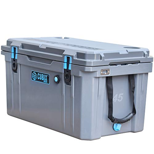 Cubix Ice Chests and Coolers   45 Quart Gray Lifetime Rotomolded Large Ice Cooler   Portable and Hard   Great for Camping, Travel, Fishing, Beach and Patio