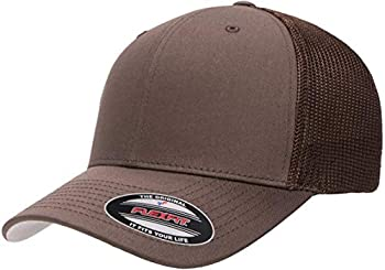Flexfit unisex adult Trucker Mesh Fitted Cap Brown One Size US