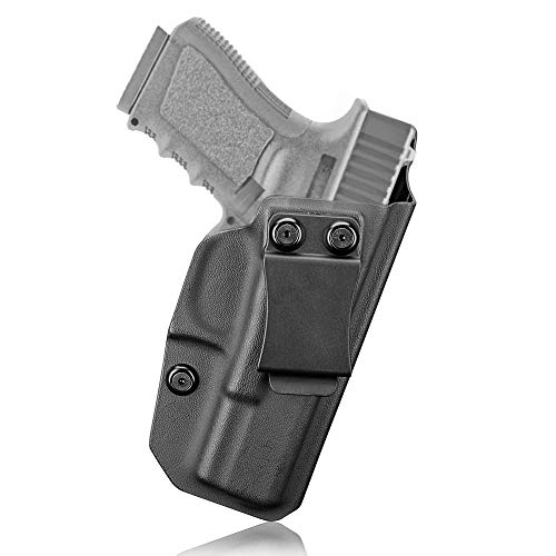 Glock 19 Holster, IWB KYDEX Appendix Holster for Glock 19 19X 23 32 45 (Gen 3/4/5), Conealed Carry Inside Waistband, US KYDEX Made, Adjustable Cant - Right Handed (Black-B)