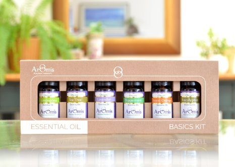 ArOmis Basics 6 Starter Essential Oil Kit - 10ml - Includes Lavender, Eucalyptus, Tea Tree, Peppermint, Lemongrass, Sweet Orange Essential Oils Kit - 100% Pure - Perfect for Diffusers and Nebulizers