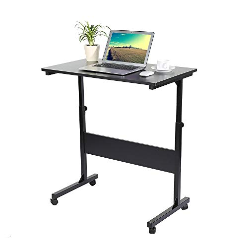 Zerone Adjustable Laptop Cart Black, Height Adjustable Notebook Standing Desk Mobile Computer Workstation with Locking Switch for Home Office