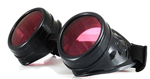 4sold (TM Steampunk Copper Schwarz Cyber Goggles Rave Goth Vintage Victorian Sonnenbrillen Plus extra klaren Gläsern