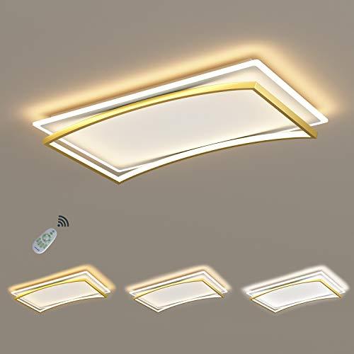 Lámpara de techo LED dorado + blanco 98W Lámpara de sala de estar rectangular lámpara de Plafón regulable hecha de marco de metal arqueado pantalla de acrílico, moderna diseño plano con control remoto