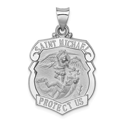 14k White Gold/Saint Michael Badge Medal Pendant Charm Necklace Religious Patron St Fine Jewelry For Women Gifts For Her