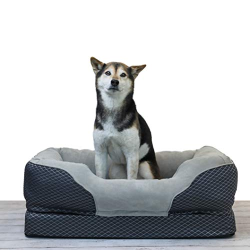 BarksBar Medium Gray Orthopedic Dog Bed - 32 x 22...