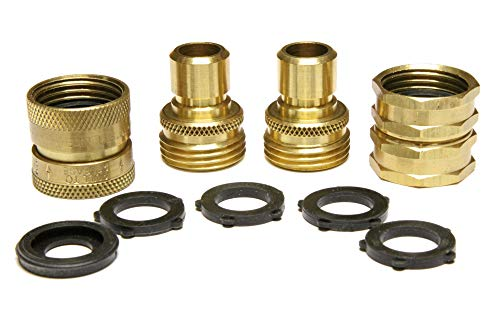 Nysist Garden Hose Quick Connect Set ~ Made in USA ~ Solid Brass Quick Connect Garden Hose Fittings ~ Bonus Swivel Coupler & Extra Washers