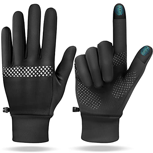Winter Touchscreen Gloves for Men Women - Mixoo Anti-Slip Cold Weather Warm Sports Gloves with Anti-Lost Buckle for Running Hiking Driving Cycling Climbing Working (M, Light Fleece)