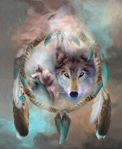 Full Round Drill 5D DIY Diamond Painting'Animal Wolf' 3D Embroidery Cross Stitch 5D Home Decor Gift A10 40x50cm