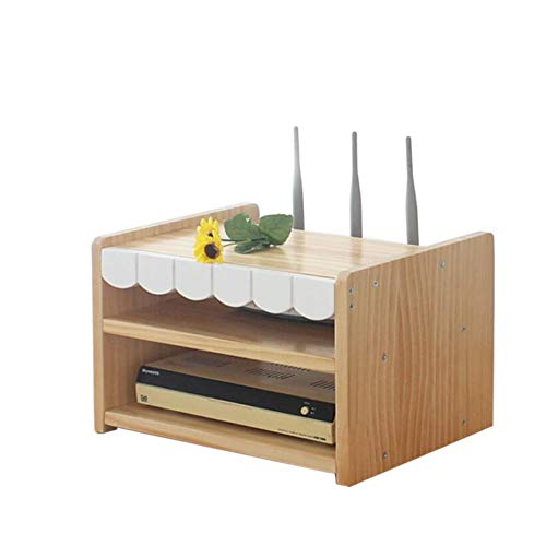 JCNFA-BOEKENPLANK Set-top Box, Massief Hout Geperst Router Opbergdoos, Desktop Wifirouter Stellage 1 Laag / 2 Lagen (Color : C, Size : 12.99 * 9.84 * 8.26in)