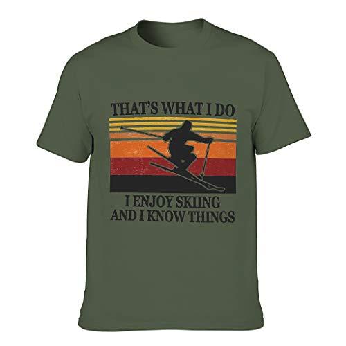Camiseta de algodn para hombre que disfrute de esquiar, saber cosas, ropa de deporte y hobby con estilo. verde militar XXXXL