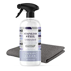 top 10 stainless steel cleaners Therapy Premium Stainless Steel Cleaner and Polish – Includes Large Microfiber Cloth, 16 oz