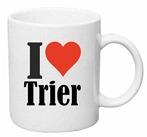Reifen-Markt Kaffeetasse I Love Trier Keramik Höhe 9,5cm ? 8cm in Weiß