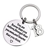 Birthday Gift Happy Birthday Keychain, 10th 12th 13th 16th 30th, Stainless Steel Birthday Key Ring Gift Women, Men, Friends Family (18th You are Braver Than You Believed)