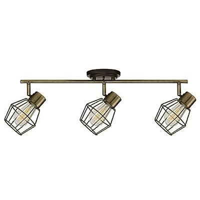 Globe Electric Jax 3 Track Lighting, Brushed Nickel, Vintage Edison Bulbs Included 59701