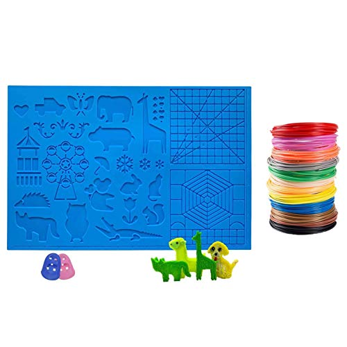 3D Printer Pen Silicone Mat with 12 Color PLA Filament 1.75mm for Kids and Adults to Start 3D Printing and Create 3D Art (Animal Big Template +12 Color Filament)