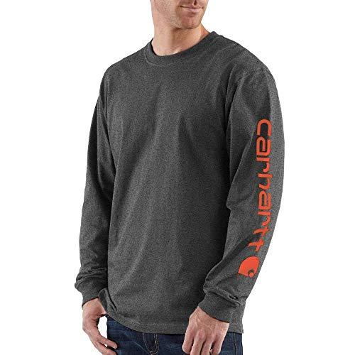 Carhartt Men's Signature Sleeve Logo Long Sleeve T Shirt Original Fit, Carbon Heather, Small