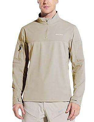 BALEAF Men's Quarter Zip Pullover Long Sleeve Shirts with Pockets Military Combat Tactical Shirt Hunting Hiking Khaki L