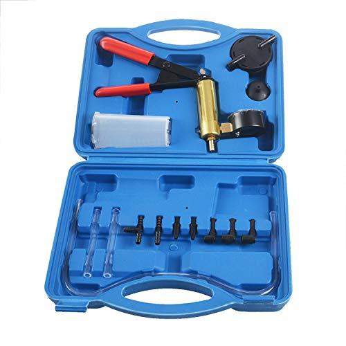Bigpea 2-in-1-Bremsenentlüfter-Set, Handpumpe, Test-Set für Auto, mit Schwamm-geschütztem Gehäuse, Adapter, One-Brems- und Kupplungsentlüftungssystem, Gold + Blau