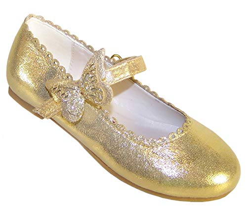 Scarpe da ballerina da bambina con finiture a farfalla, colore: oro, Oro (Oro), 34 EU
