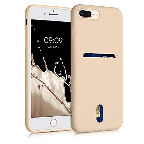 kwmobile Funda Compatible con Apple iPhone 7 Plus / 8 Plus - Carcasa de Silicona con Tarjetero y Acabado de Goma - nácar