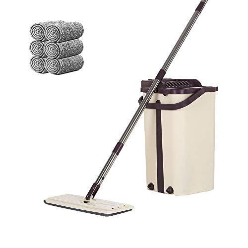 MorNon Flach-Mopp und 2 in 1 Wischmop Eimer Set mit 5 Mopp Tücher Bodenwischer Flachmopp mit Eimer