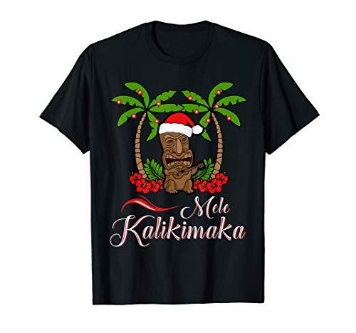 Tiki Mele Kalikimaka Merry Christmas T-Shirt Hawaii Ukulele
