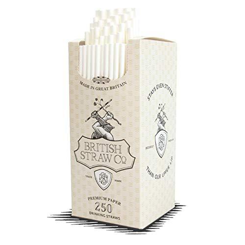 Pajitas de papel blanco del Reino Unido, 250 unidades, 200 x 6 mm, desechables, reciclables y sostenibles.