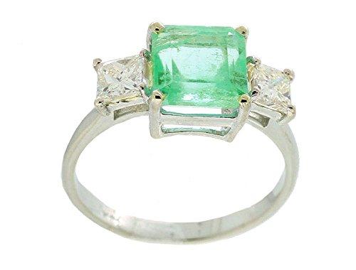 Colombian 2.74ct 3 pietre di diamante e smeraldo sintetici in oro bianco 14 k