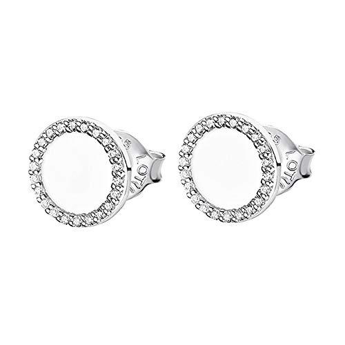 Lotus Pendientes de plata de ley 925 LP1946-4/1, pendientes circulares D3JLP1946-4-1, pendientes de plata para mujer