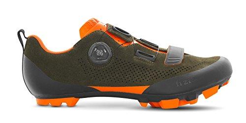 Fizik X5 Terra Suede Military Orange Fluo Cycling Footwear, Green, Size 48