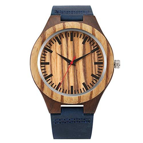Reloj clásico de Madera de Cebra para Hombre, Pantalla de Segundos Rojos, Reloj de Pulsera para Hombre de Cuarzo de Cuero Azul, Azul