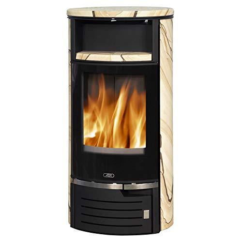 Kaminofen Atlantik 7 Stahl schwarz Sandstein Verkleidung inklusive Abdeckplatte Heizofen Holzofen mit selbstschließender Tür Energieeffizienzklasse A+ 6,5kw